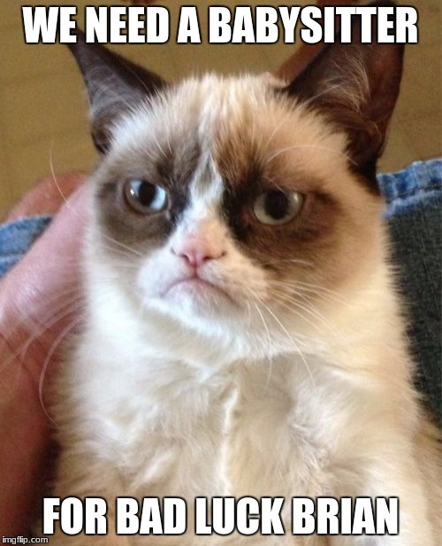 Grumpy Cat Meme | WE NEED A BABYSITTER FOR BAD LUCK BRIAN | image tagged in memes,grumpy cat | made w/ Imgflip meme maker