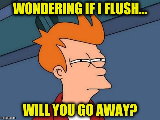 Futurama Fry Meme | WONDERING IF I FLUSH... WILL YOU GO AWAY? | image tagged in memes,futurama fry | made w/ Imgflip meme maker