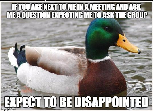 Actual Advice Mallard Meme | IF YOU ARE NEXT TO ME IN A MEETING AND ASK ME A QUESTION EXPECTING ME TO ASK THE GROUP EXPECT TO BE DISAPPOINTED | image tagged in memes,actual advice mallard,AdviceAnimals | made w/ Imgflip meme maker