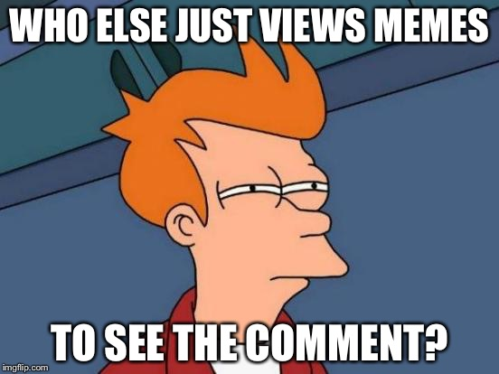 Futurama Fry Meme | WHO ELSE JUST VIEWS MEMES TO SEE THE COMMENT? | image tagged in memes,futurama fry | made w/ Imgflip meme maker