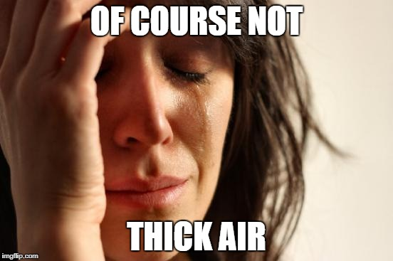 First World Problems Meme | OF COURSE NOT THICK AIR | image tagged in memes,first world problems | made w/ Imgflip meme maker