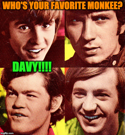 Who's Your Favorite Monkee? | WHO'S YOUR FAVORITE MONKEE? DAVY!!!! | image tagged in the monkees,band,group,davy jones,favorite | made w/ Imgflip meme maker