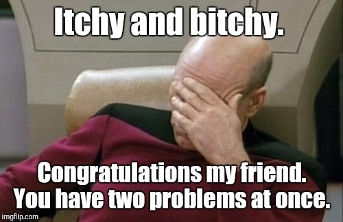 Captain Picard Facepalm Meme | Itchy and b**chy. Congratulations my friend. You have two problems at once. | image tagged in memes,captain picard facepalm | made w/ Imgflip meme maker