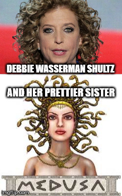 Either one can turn you to stone | DEBBIE WASSERMAN SHULTZ AND HER PRETTIER SISTER | image tagged in medusa,whore | made w/ Imgflip meme maker