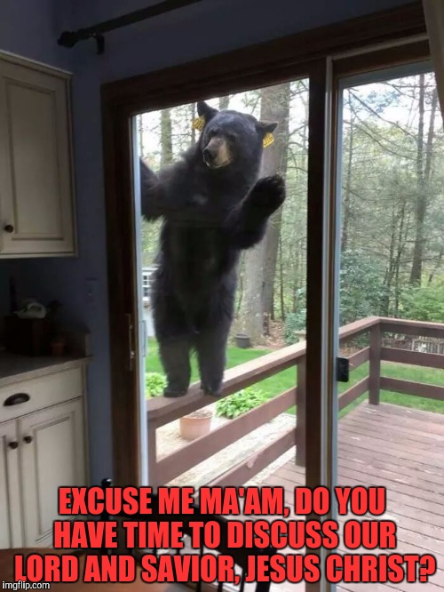 Oh hi there. |  EXCUSE ME MA'AM, DO YOU HAVE TIME TO DISCUSS OUR LORD AND SAVIOR, JESUS CHRIST? | image tagged in memes,funny,lol,nature,haha | made w/ Imgflip meme maker