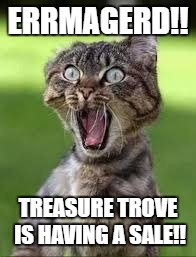 ERRMAGERD!! TREASURE TROVE IS HAVING A SALE!! | image tagged in sale cat | made w/ Imgflip meme maker