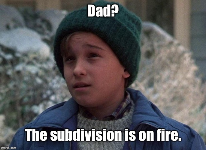 Dad? The subdivision is on fire. | made w/ Imgflip meme maker