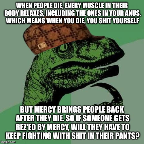 Well that's a shitty question | WHEN PEOPLE DIE, EVERY MUSCLE IN THEIR BODY RELAXES, INCLUDING THE ONES IN YOUR ANUS, WHICH MEANS WHEN YOU DIE, YOU SHIT YOURSELF BUT MERCY  | image tagged in memes,philosoraptor,scumbag,poop,overwatch,mercy | made w/ Imgflip meme maker