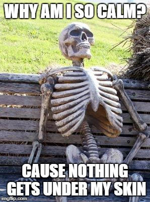 Waiting Skeleton Meme | WHY AM I SO CALM? CAUSE NOTHING GETS UNDER MY SKIN | image tagged in memes,waiting skeleton | made w/ Imgflip meme maker