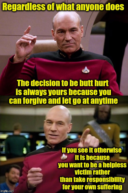 Picard Engage Pointing | Regardless of what anyone does The decision to be butt hurt is always yours because you can forgive and let go at anytime If you see it othe | image tagged in picard engage pointing,memes,acim,forgiveness,butthurt,maturity | made w/ Imgflip meme maker