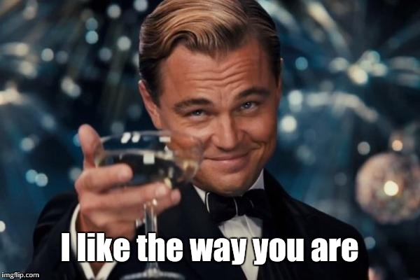 Leonardo Dicaprio Cheers Meme | I like the way you are | image tagged in memes,leonardo dicaprio cheers | made w/ Imgflip meme maker