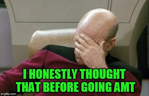 Captain Picard Facepalm Meme | I HONESTLY THOUGHT THAT BEFORE GOING AMT | image tagged in memes,captain picard facepalm | made w/ Imgflip meme maker