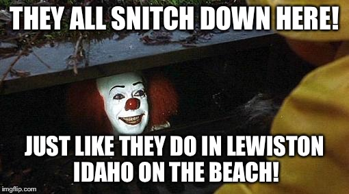 pennywise | THEY ALL SNITCH DOWN HERE! JUST LIKE THEY DO IN LEWISTON IDAHO ON THE BEACH! | image tagged in pennywise | made w/ Imgflip meme maker