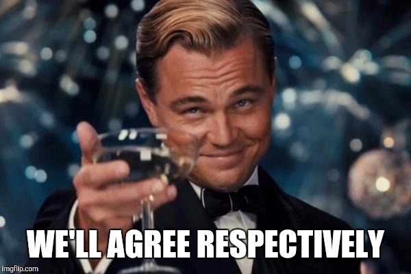 Leonardo Dicaprio Cheers Meme | WE'LL AGREE RESPECTIVELY | image tagged in memes,leonardo dicaprio cheers | made w/ Imgflip meme maker