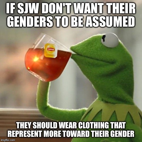 But Thats None Of My Business Meme | IF SJW DON'T WANT THEIR GENDERS TO BE ASSUMED THEY SHOULD WEAR CLOTHING THAT REPRESENT MORE TOWARD THEIR GENDER | image tagged in memes,but thats none of my business,kermit the frog | made w/ Imgflip meme maker