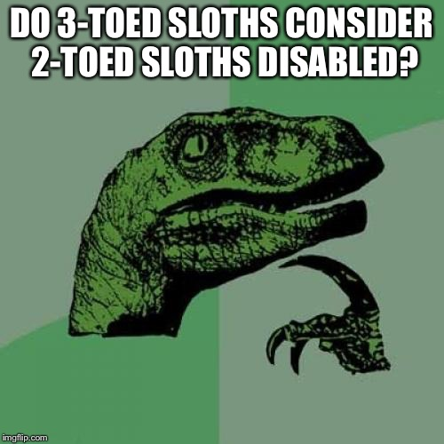 Philosoraptor Meme | DO 3-TOED SLOTHS CONSIDER 2-TOED SLOTHS DISABLED? | image tagged in memes,philosoraptor | made w/ Imgflip meme maker