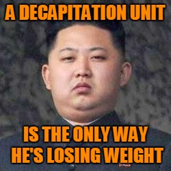 Kim Jong Un - Not Impressed | A DECAPITATION UNIT IS THE ONLY WAY HE'S LOSING WEIGHT | image tagged in kim jong un - not impressed | made w/ Imgflip meme maker