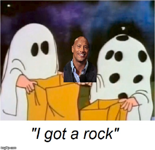 47 Days till Halloween... | image tagged in charlie brown,dwayne johnson,bad puns | made w/ Imgflip meme maker