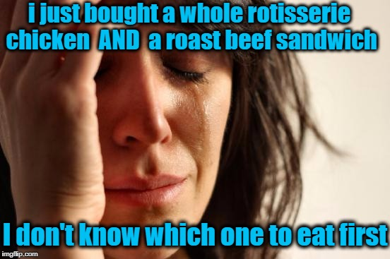 Must be nice to have our FIRST-WORLD problems,  eh? | i just bought a whole rotisserie chicken  AND  a roast beef sandwich I don't know which one to eat first | image tagged in memes,first world problems | made w/ Imgflip meme maker