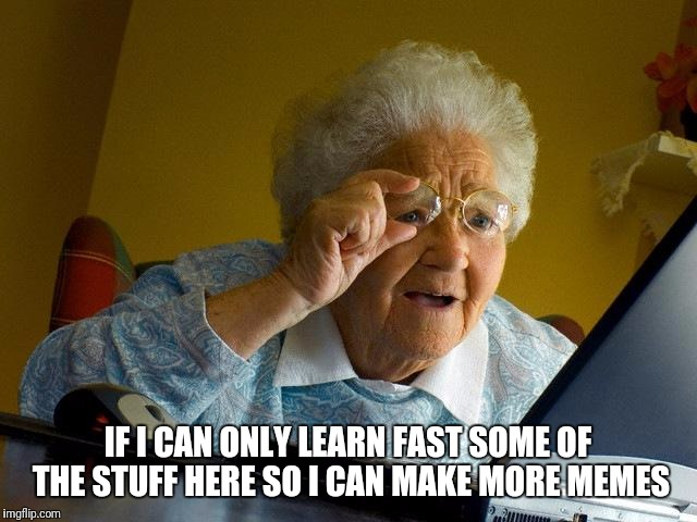 Grandma Finds The Internet Meme | IF I CAN ONLY LEARN FAST SOME OF THE STUFF HERE SO I CAN MAKE MORE MEMES | image tagged in memes,grandma finds the internet | made w/ Imgflip meme maker