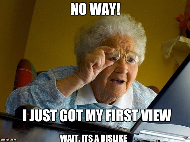 Grandma Finds The Internet Meme | NO WAY! I JUST GOT MY FIRST VIEW WAIT, ITS A DISLIKE | image tagged in memes,grandma finds the internet | made w/ Imgflip meme maker