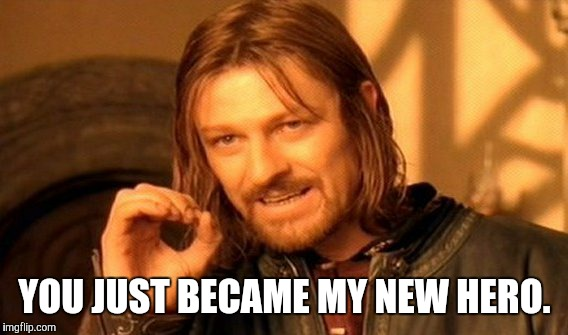 One Does Not Simply Meme | YOU JUST BECAME MY NEW HERO. | image tagged in memes,one does not simply | made w/ Imgflip meme maker