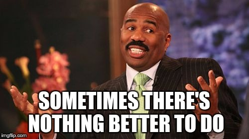 Steve Harvey Meme | SOMETIMES THERE'S NOTHING BETTER TO DO | image tagged in memes,steve harvey | made w/ Imgflip meme maker