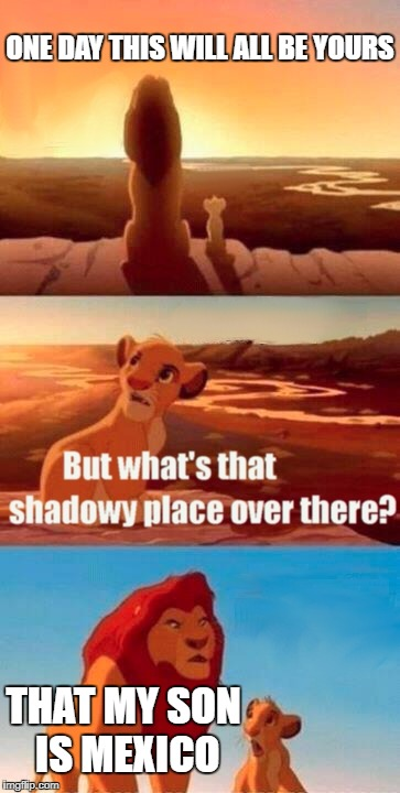 Simba Shadowy Place Meme | ONE DAY THIS WILL ALL BE YOURS THAT MY SON IS MEXICO | image tagged in memes,simba shadowy place | made w/ Imgflip meme maker