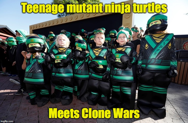 Or is it Children of the Corn? | Teenage mutant ninja turtles Meets Clone Wars | image tagged in teenage mutant ninja turtles,children | made w/ Imgflip meme maker