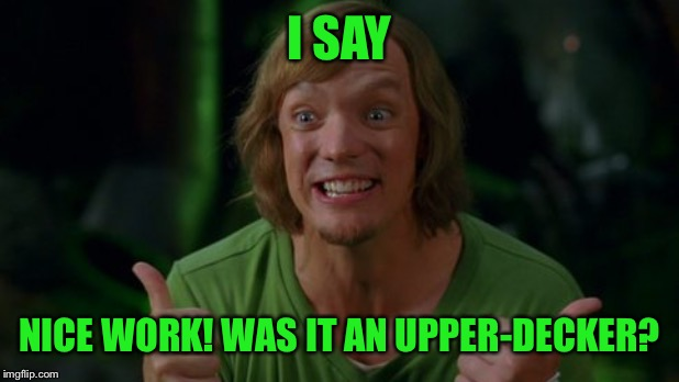 Shaggy 3 | I SAY NICE WORK! WAS IT AN UPPER-DECKER? | image tagged in shaggy 3 | made w/ Imgflip meme maker