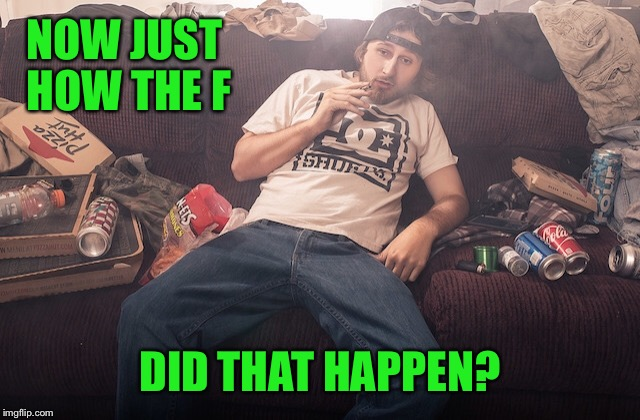 Stoner on couch | NOW JUST HOW THE F DID THAT HAPPEN? | image tagged in stoner on couch | made w/ Imgflip meme maker
