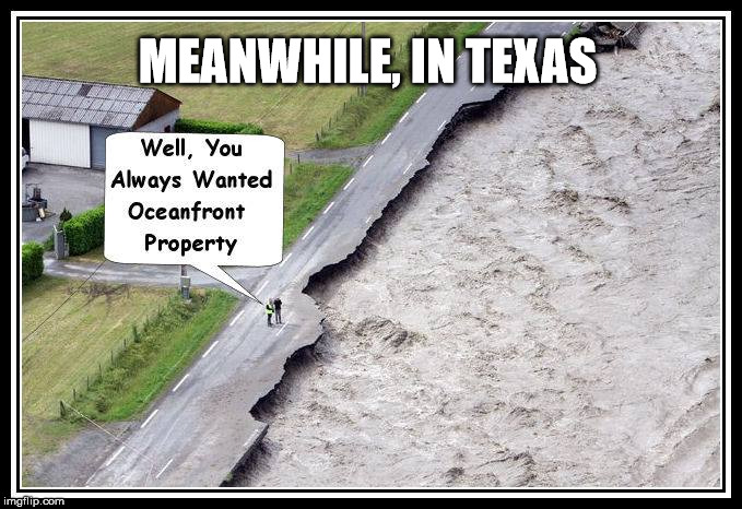 Always look on the bright side of life | MEANWHILE, IN TEXAS | image tagged in hurricane harvey,flooding,damage,optimist | made w/ Imgflip meme maker