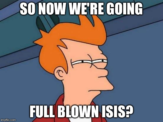 Futurama Fry Meme | SO NOW WE'RE GOING FULL BLOWN ISIS? | image tagged in memes,futurama fry | made w/ Imgflip meme maker