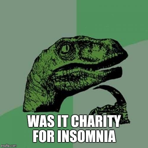 Philosoraptor Meme | WAS IT CHARITY FOR INSOMNIA | image tagged in memes,philosoraptor | made w/ Imgflip meme maker
