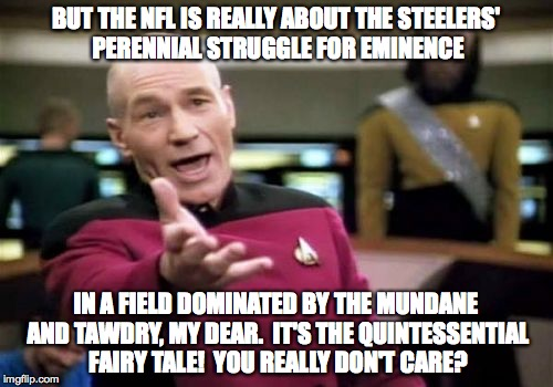 Picard Wtf Meme | BUT THE NFL IS REALLY ABOUT THE STEELERS' PERENNIAL STRUGGLE FOR EMINENCE IN A FIELD DOMINATED BY THE MUNDANE AND TAWDRY, MY DEAR.  IT'S THE | image tagged in memes,picard wtf | made w/ Imgflip meme maker