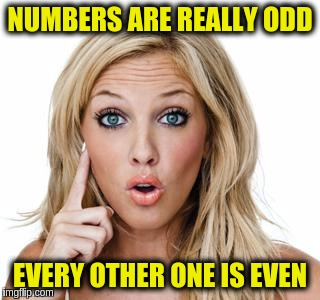 Suddenly Brilliant Blonde | NUMBERS ARE REALLY ODD EVERY OTHER ONE IS EVEN | image tagged in dumb blonde,memes,funny,numbers,maths | made w/ Imgflip meme maker