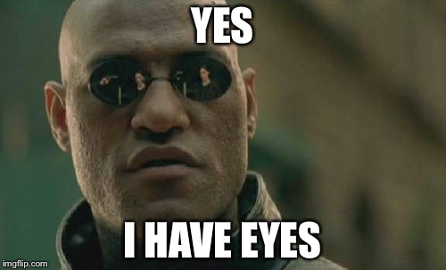 Matrix Morpheus Meme | YES I HAVE EYES | image tagged in memes,matrix morpheus | made w/ Imgflip meme maker