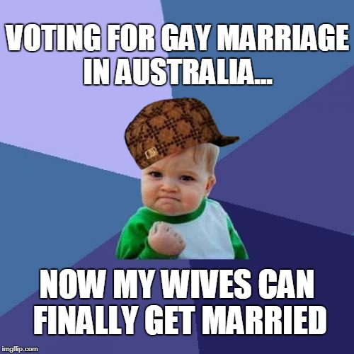 Success Kid | VOTING FOR GAY MARRIAGE IN AUSTRALIA... NOW MY WIVES CAN FINALLY GET MARRIED | image tagged in memes,success kid,scumbag,gay marriage,gay rights,polygamy | made w/ Imgflip meme maker