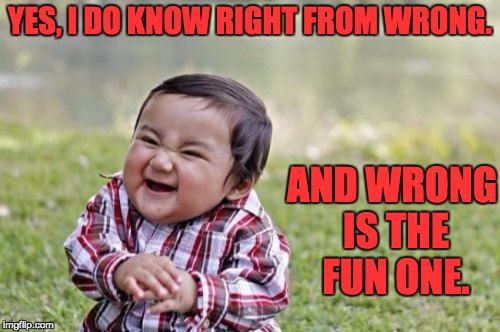 Evil Toddler Meme | YES, I DO KNOW RIGHT FROM WRONG. AND WRONG IS THE FUN ONE. | image tagged in memes,evil toddler | made w/ Imgflip meme maker
