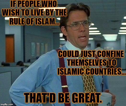 Imagine all the people... living without fear... oo oo woo woo woo | IF PEOPLE WHO WISH TO LIVE BY THE RULE OF ISLAM... THAT'D BE GREAT. COULD JUST CONFINE THEMSELVES TO ISLAMIC COUNTRIES... | image tagged in memes,that would be great | made w/ Imgflip meme maker