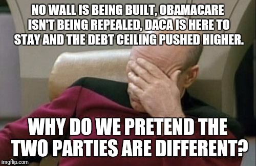 Doing the same thing over and over expecting a different result... what is that the definition of? | NO WALL IS BEING BUILT, OBAMACARE ISN'T BEING REPEALED, DACA IS HERE TO STAY AND THE DEBT CEILING PUSHED HIGHER. WHY DO WE PRETEND THE TWO P | image tagged in memes,captain picard facepalm | made w/ Imgflip meme maker