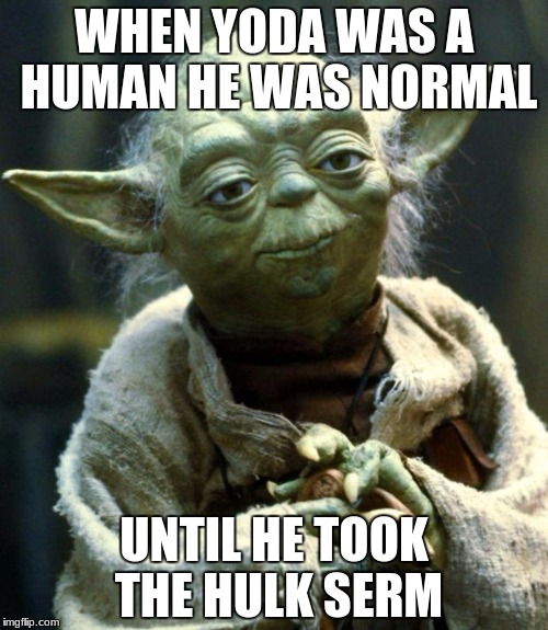 Star Wars Yoda Meme | WHEN YODA WAS A HUMAN HE WAS NORMAL UNTIL HE TOOK THE HULK SERM | image tagged in memes,star wars yoda | made w/ Imgflip meme maker