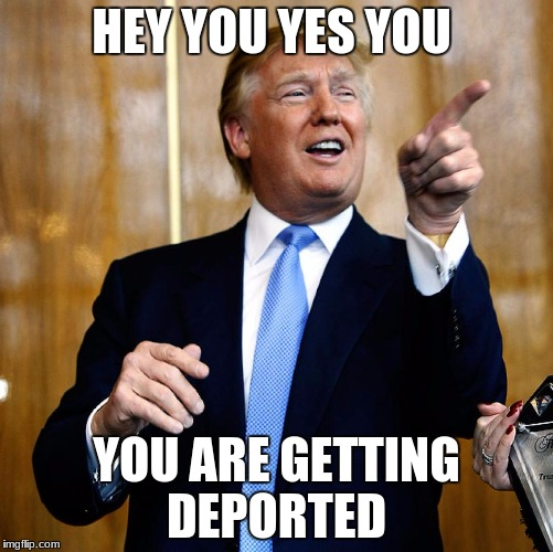 Donal Trump Birthday | HEY YOU YES YOU YOU ARE GETTING DEPORTED | image tagged in donal trump birthday | made w/ Imgflip meme maker