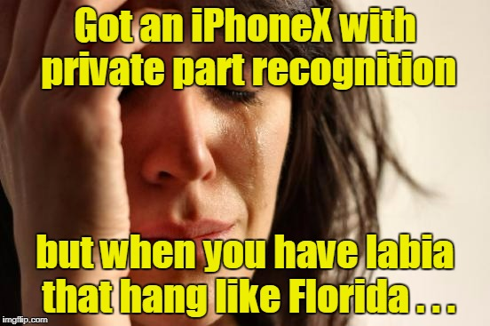 First World Problems Meme | Got an iPhoneX with private part recognition but when you have labia that hang like Florida . . . | image tagged in memes,first world problems | made w/ Imgflip meme maker
