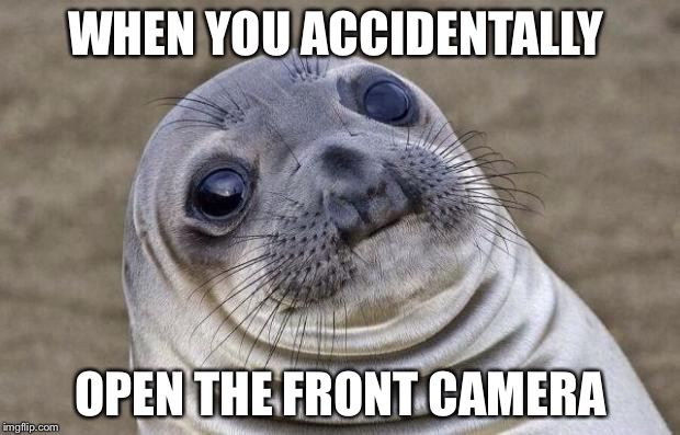 Awkward Moment Sealion Meme | WHEN YOU ACCIDENTALLY OPEN THE FRONT CAMERA | image tagged in memes,awkward moment sealion | made w/ Imgflip meme maker