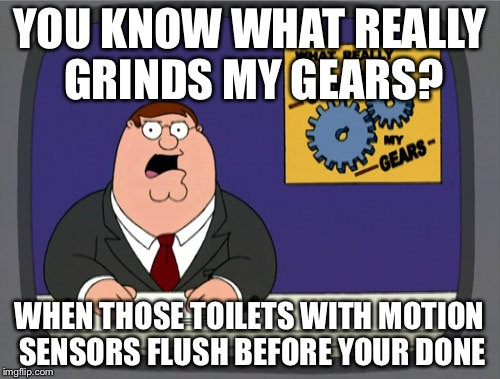 Peter Griffin News Meme | YOU KNOW WHAT REALLY GRINDS MY GEARS? WHEN THOSE TOILETS WITH MOTION SENSORS FLUSH BEFORE YOUR DONE | image tagged in memes,peter griffin news,toilet,you know what really grinds my gears,so true memes | made w/ Imgflip meme maker