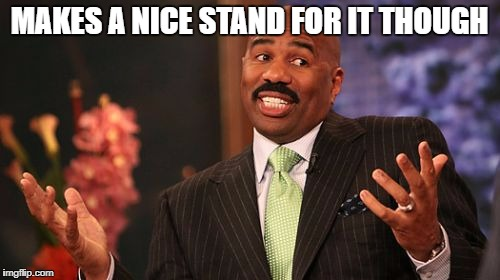 Steve Harvey Meme | MAKES A NICE STAND FOR IT THOUGH | image tagged in memes,steve harvey | made w/ Imgflip meme maker