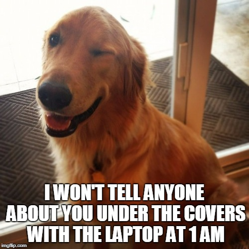 I WON'T TELL ANYONE ABOUT YOU UNDER THE COVERS WITH THE LAPTOP AT 1 AM | made w/ Imgflip meme maker