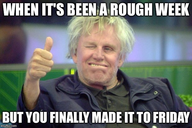 I can relate  | WHEN IT'S BEEN A ROUGH WEEK BUT YOU FINALLY MADE IT TO FRIDAY | image tagged in friday,tgif,motivational,gary busey,weekend | made w/ Imgflip meme maker