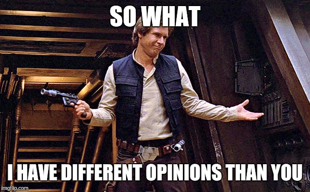 SO WHAT I HAVE DIFFERENT OPINIONS THAN YOU | image tagged in han solo doesn't care | made w/ Imgflip meme maker